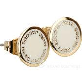 MARC JACOBS Logo Disc Stud 字母琺瑯圓盤耳針式耳環(金x象牙白) 1820172-20