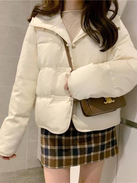 羽絨棉服 2021秋冬新款韓版寬鬆小個子短款連帽盤扣中古風羽絨棉服外套女 歐歐