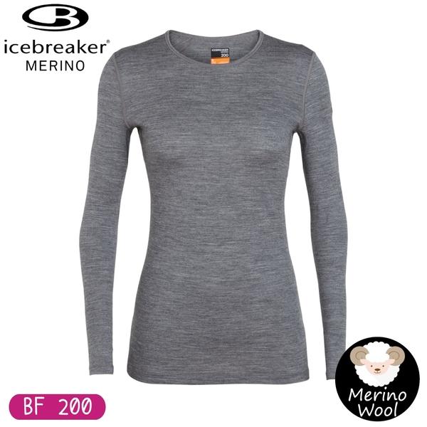 【Icebreaker 女 Oasis 圓領長袖上衣 BF200《化石灰》】104375/保暖羊毛衫/機能服/內搭