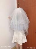 新娘頭紗旅游拍照道具頭紗多多層珍珠蝴蝶結發梳頭紗新娘寫真頭飾超仙 麥吉良品