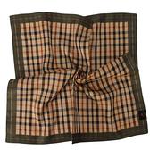 DAKS經典格紋LOGO刺繡領巾手帕領巾(綠邊)989108-24
