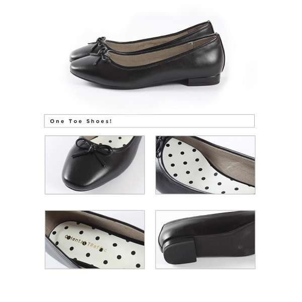 【ORiental TRaffic】俏皮綁帶方頭芭蕾舞鞋-經典黑