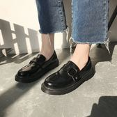 牛津鞋 英倫風chic小皮鞋女2018新款zipper軟妹平底鞋韓版原宿百搭單鞋女 芭蕾朵朵