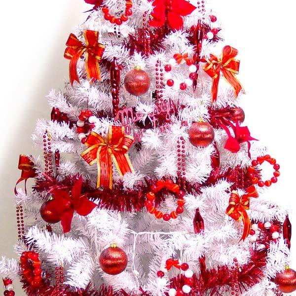 【摩達客】台灣製4尺/4呎(120cm)豪華版夢幻白色聖誕樹 (+純紅色系配件)(不含燈)