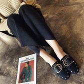 雙11鉅惠 單鞋女春季韓版百搭2018新款女鞋方頭平底樂福鞋鉚釘皮帶扣豆豆鞋 芥末原創