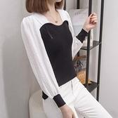 上衣針織拼接中大尺碼XL-4XL大碼寬鬆針織衫女薄款長袖洋氣減齡上衣MB137A-9850.皇潮天下