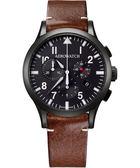 AEROWATCH Grace優雅風範三眼計時腕錶-黑x黑框 A83966NO03