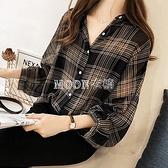 格子襯衫女設計感小眾襯衣2021春季新款韓版復古港味長袖上衣雪紡 快速出貨