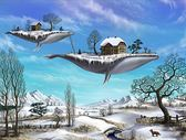 【拼圖總動員 PUZZLE STORY】冬季-兩隻鯨魚 Tower Puzzle/飛行鯨魚/1000P