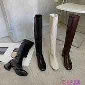 瘦瘦靴不過膝長靴女春季新款小個子粗跟高跟騎士靴網美高筒靴超級品牌【公主日記】