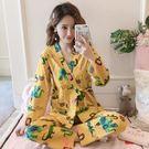 ★依咨戀小舖★睡衣女秋冬季長袖長褲棉日式性感和服莫代爾兩件套休閒家居服套裝