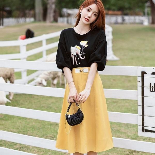 亮眼黑黃配色燈籠袖上衣黃色A字裙兩件套(黑上衣+黃色A字裙)[99197-QF]美之札