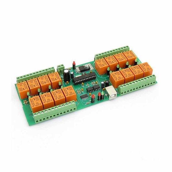 Denkovi USB 16 Channel 繼電器模塊 24V Relay Module,Board for Home Automation [2美國直購]
