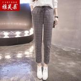 女褲春秋2019新款寬鬆直筒大碼蘿卜哈倫褲顯瘦百搭休閒格子工裝褲