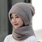 毛線帽子女純色圍巾一體包頭護耳針織帽秋冬天新款保暖兔毛毛線帽 聖誕節全館免運