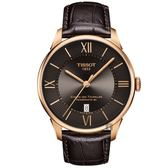TISSOT天梭 杜魯爾系列動力80小時機械錶-咖啡x玫塊金框/42mm T0994073644800