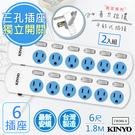 【KINYO】6呎1.8M 3P6開6插安全延長線(CW366-6)2入