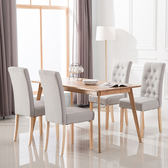 實木餐椅家用布藝餐椅子休閒酒店椅子現代