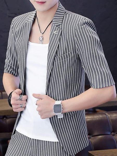 西裝外套男短袖單西裝男士夏季潮流韓版修身中袖小西服男英倫七分袖夏裝外套 衣間迷你屋