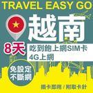 【Travel EZ go】越南上網卡 8日 4G上網不斷網 吃到飽上網SIM卡