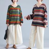 棉綢 彩色配條下襬綁帶上衣-大尺碼 獨具衣格