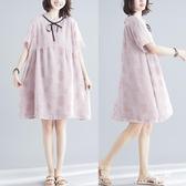 長裙 洋裝 很仙的連衣裙中大尺碼 女裝夏季新款微MM寬鬆蝴蝶結減齡雪紡裙子顯瘦 快速出貨