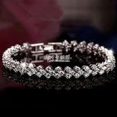 手鍊 銀飾品羅馬銀手鍊 女時尚歐美首飾鋯石水晶手鍊 手飾批發 卡菲婭