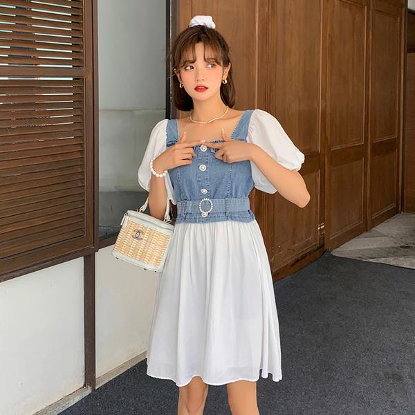 超殺29折 韓國風復古時尚泡泡袖拼接牛仔短袖洋裝