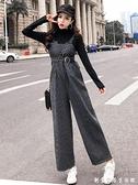 小個子穿搭九分背帶褲套裝女2020新款秋冬韓版顯瘦寬鬆洋氣闊腳褲