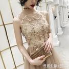 晚禮服女時尚金色亮片宴會氣質顯瘦優雅名媛洋裝春夏季  ◣怦然心動◥