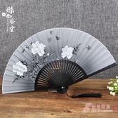 絲藝堂禮品女式折扇夏季日式櫻花扇子古風絹扇絲綢布扇牡丹扇梅花 新年鉅惠