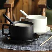 馬克杯 無名器 簡約咖啡杯陶瓷馬克杯套裝帶碟勺子北歐下午茶咖啡器具〖夢露時尚女裝〗
