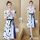 大尺碼寬鬆遮肚子雪紡洋裝夏季時尚大碼顯瘦藏肉中長款波點連衣裙 Gg1554『東京衣社』