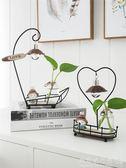 水培植物玻璃花瓶裝飾創意禮品電視柜擺件辦公桌客廳可愛兔子擺件  歐韓流行館
