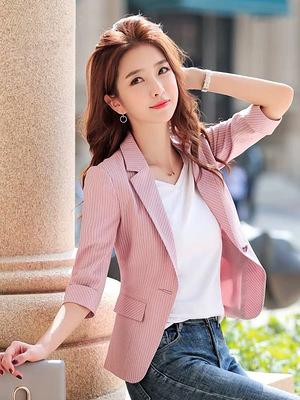條紋西裝外套女韓版修身七分袖西服短款時尚休閑小西裝女9524#F062B紅粉佳人