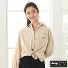 【JEEP】女裝素面休閒長袖襯衫-淺卡其