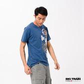 BIG TRAIN 和風春宴圓領短袖-男-中藍