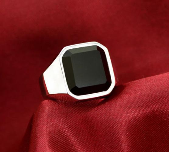 歐美鈦鋼戒指黑曜石男戒子 韓版指環男扳指食指禮品可刻字
