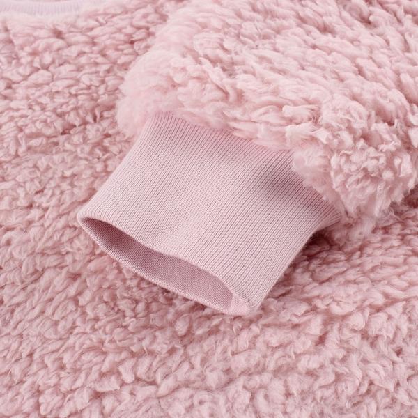 Gap女幼童 保暖仿羊羔絨圓領休閒上衣 656552-淡粉色