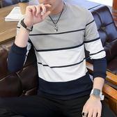 長袖衛衣 春季t恤男士長袖打底衫條紋修身帥氣小衫上衣服男套頭T恤男生上衣《印象精品》t7181