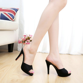 黑色女涼鞋新品歐美性感超高跟涼拖鞋魚嘴防水臺細跟一字拖鞋