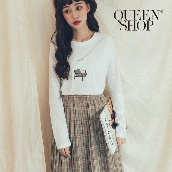 Queen Shop【01038194】Fabric椅子印花上衣 兩色售*現+預*