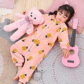 秋冬季嬰兒童法蘭絨睡袋寶寶加絨加厚女童連體睡衣防踢珊瑚絨爬服 任選一件享八折