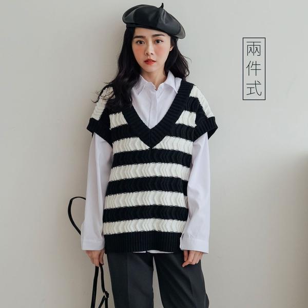 現貨-MIUSTAR 兩件式!白襯衫+V領ㄑ型立體織紋黑白條針織背心(共2色)【NH3674】
