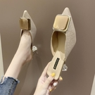 快速出貨 尖頭半拖鞋女外穿夏季 網紅百搭中跟單鞋方扣細跟高跟涼拖