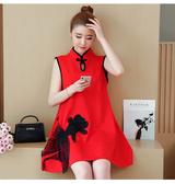 新款喜慶宴會約會相親旗袍領刺繡無袖A版洋裝 (黑  紅) 11850075