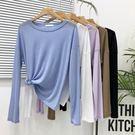 2019夏新款韓版寬鬆純色長袖冰絲針織女t恤簡約微透上衣防曬罩衫