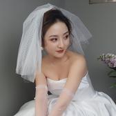 可愛菱格網格多層短款蓬蓬新娘頭紗
