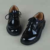 男童鞋正裝小孩皮鞋男孩子兒童表演出學校學生合唱鞋繫帶亮黑色 晴天時尚