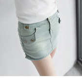 《BA0623-》高含棉造型釦飾牛仔短裙褲裙 OB嚴選